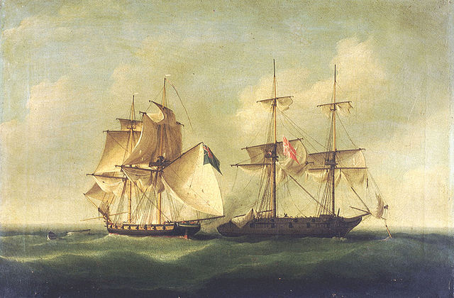 640px HMS Sappho capturing the Danish brig Admiral Jawl